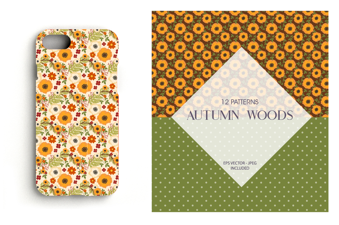 Autumn Woods Pattern collection, vector ai, example image 4