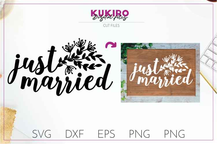 Just married SVG- Wedding cut files example image 1