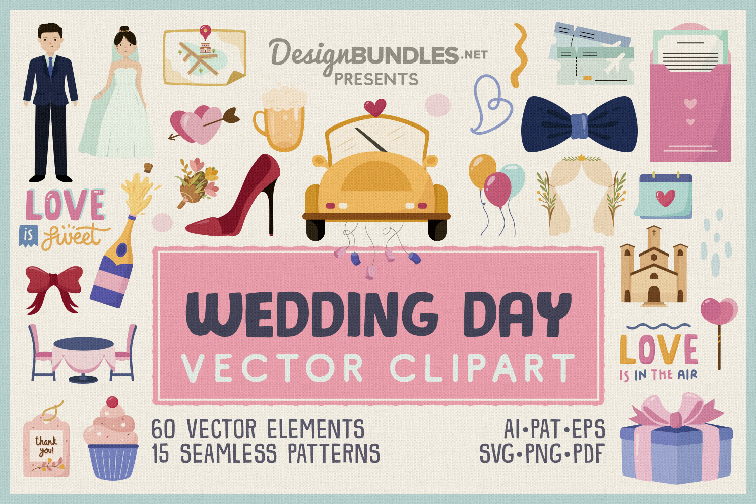 Wedding Day Vector Clipart and Seamless Pattern example image 1