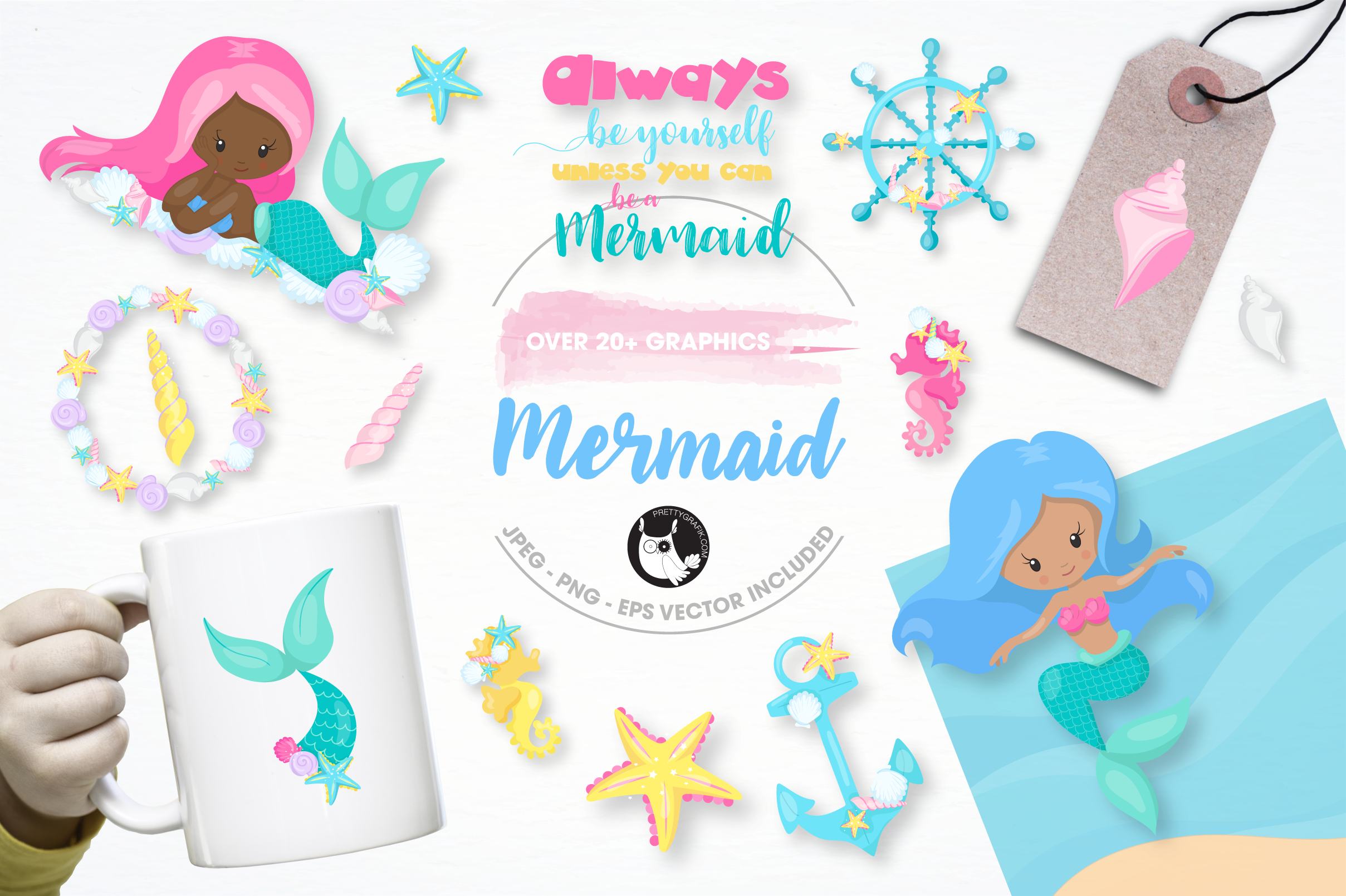 nautical mermaid graphics and illustrations example image 1