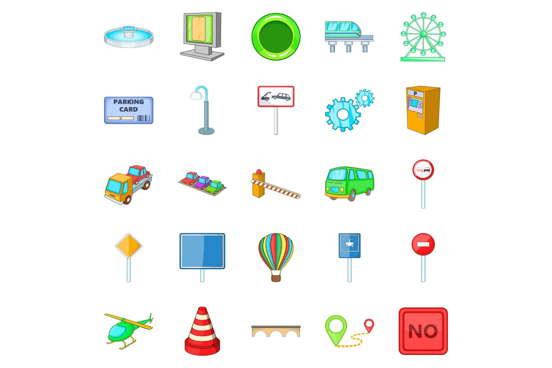 Navigation icons set, cartoon style example image 1