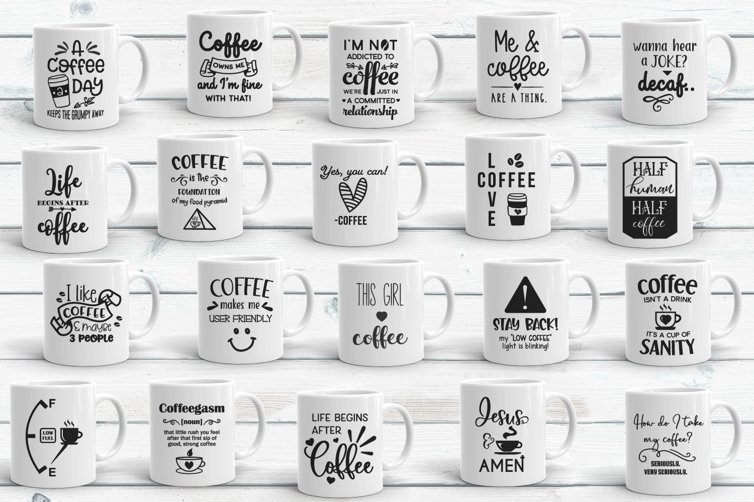 Coffee Quotes Bundle Vol 2 SVG, EPS, DXF, PNG example image 2