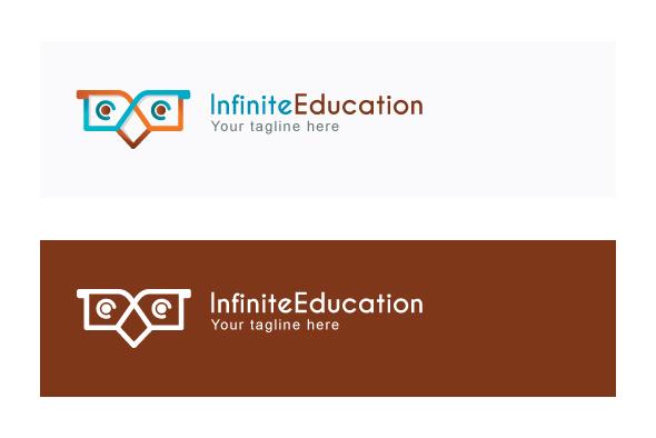 Infinite Education - Simple Abstract Owl Bird Stock Logo example image 2