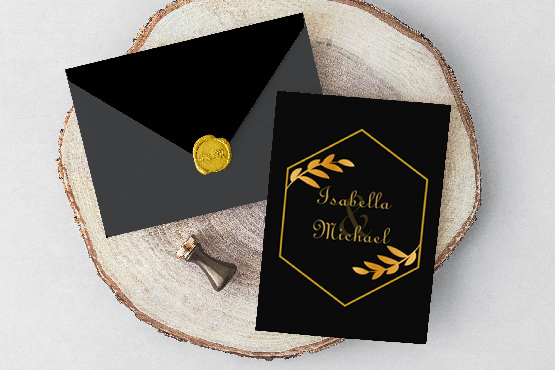 Elegant Golden Leaf Wedding Invitation Kit example image 7