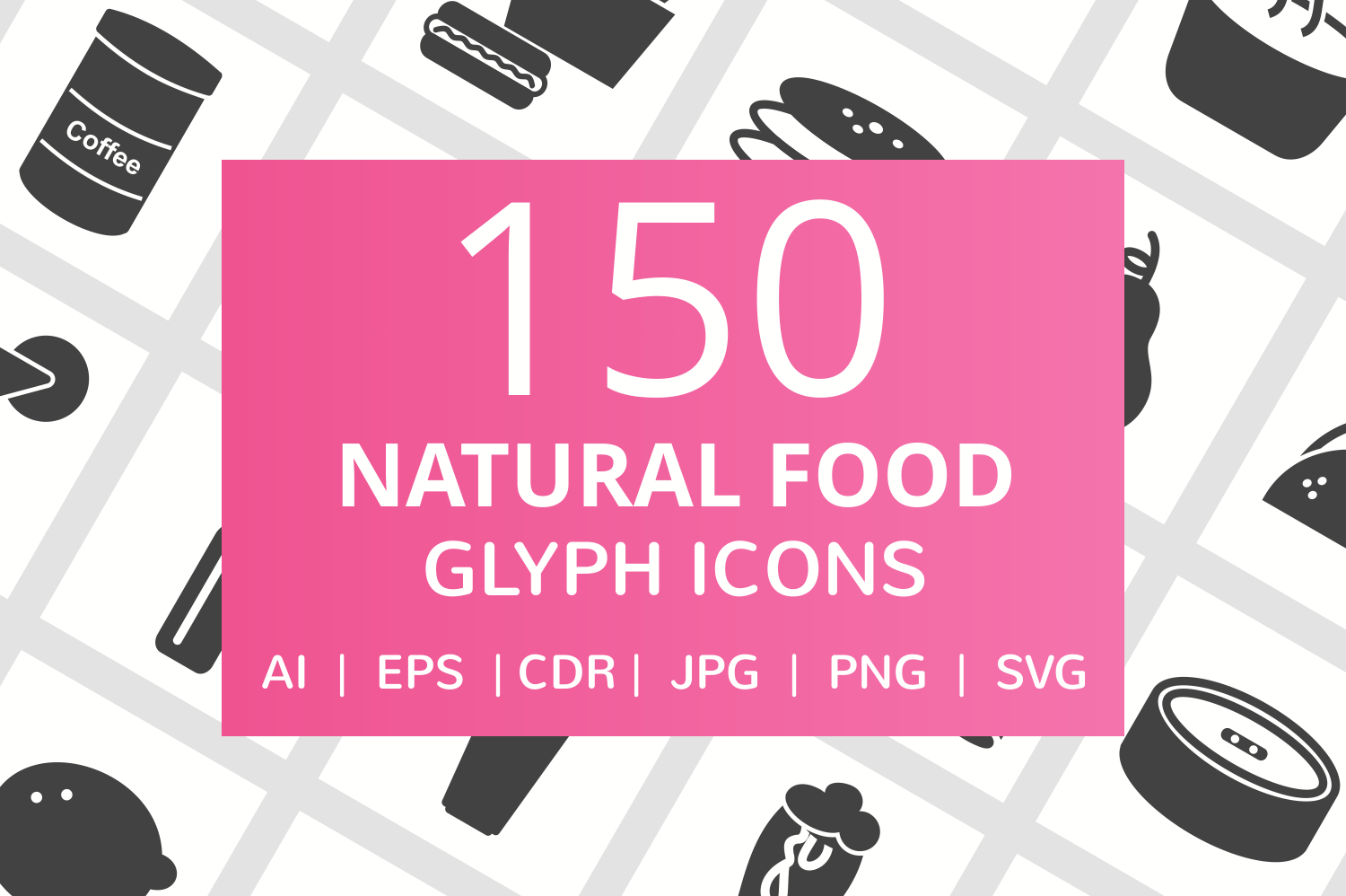150 Natural Food Glyph Icons example image 1