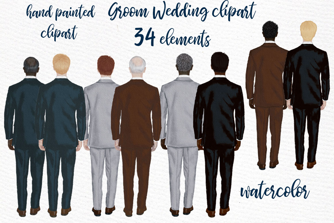 Groom clipart Wedding clipart Men in suit Engagement clipart example image 1