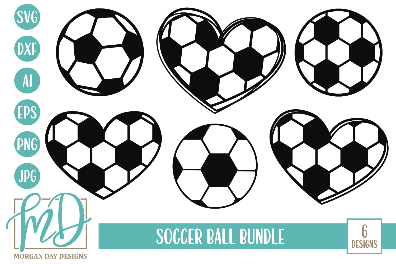 Soccer Ball Bundle SVG, DXF, AI, EPS, PNG, JPEG example image 1