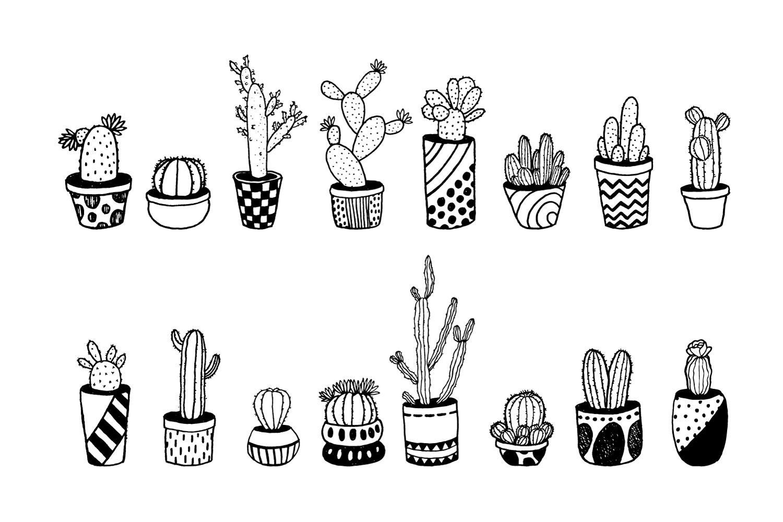 Cactus Doodle Set example image 2