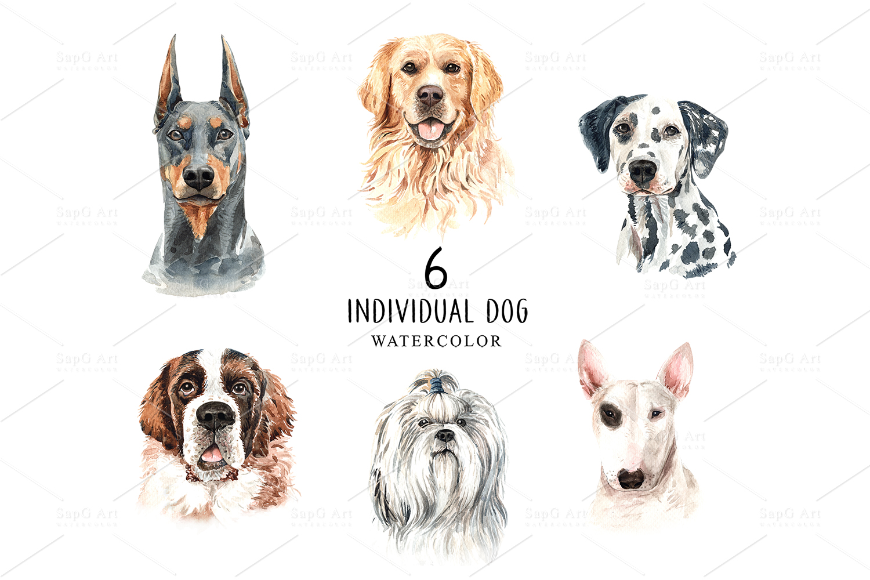 Dog watercolor clipart, Pet clip arts, Dog Set D example image 2