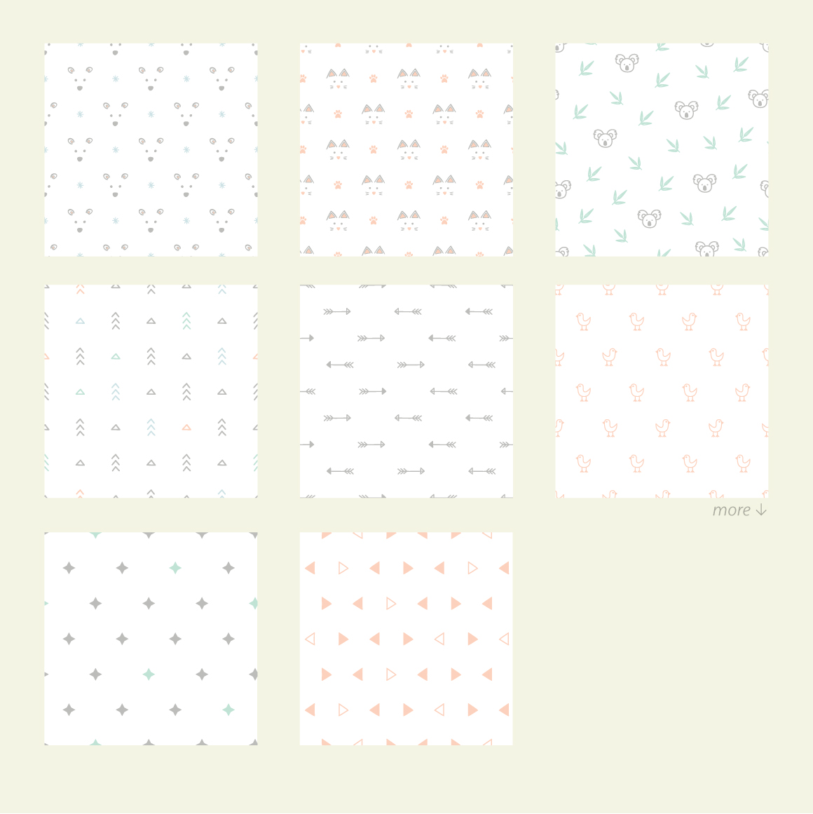 Simple Baby Patterns. Animals, nature. example image 4