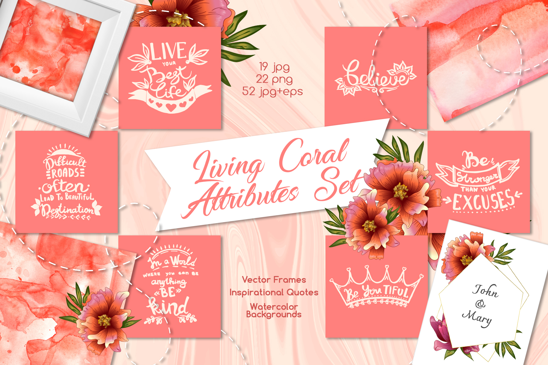Living coral attributes set Watercolor png example image 1