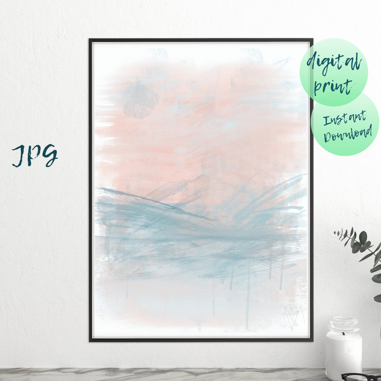 Grey Pink Abstract Set Art