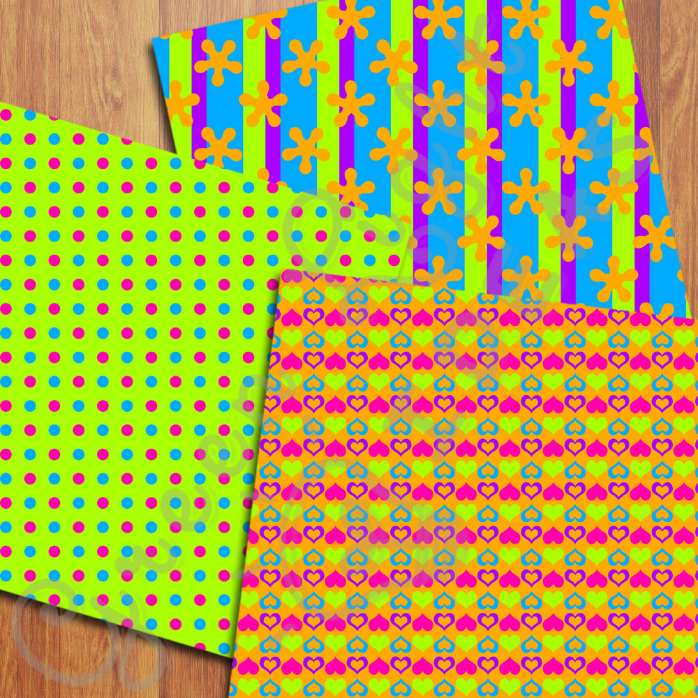 Bright Neon Digital Papers example image 3