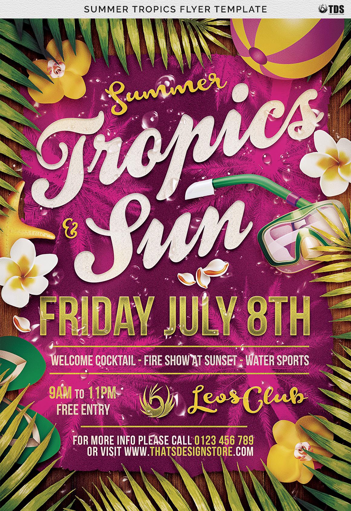 Summer Tropics Flyer Template example image 4