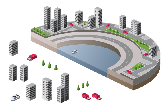 Urban isometric city 3D vector scene example image 1