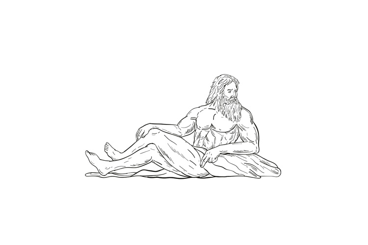 Heracles Reclining Side Drawing Black and White example image 1