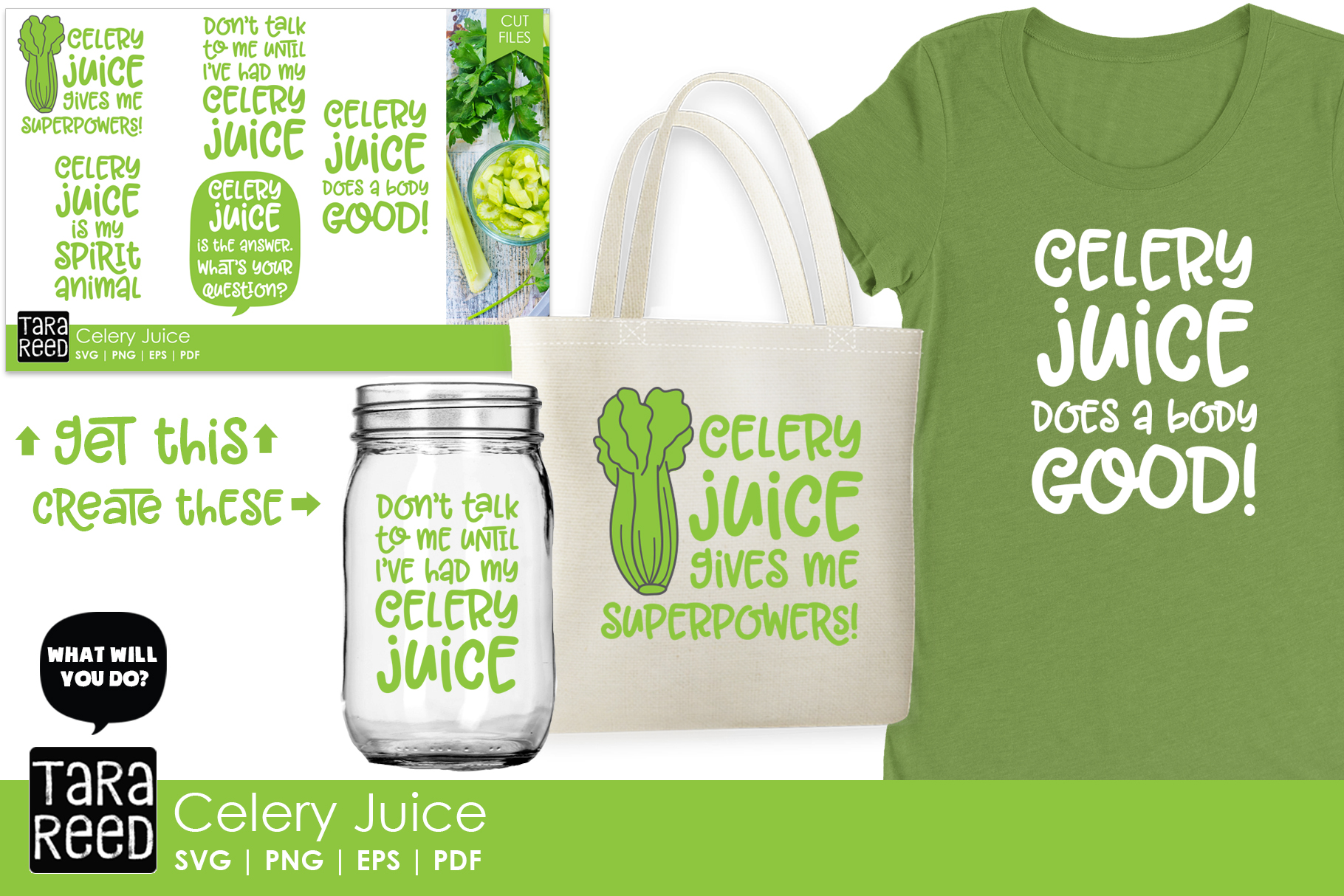 Celery Juice SVG and Cut Files for Crafters example image 2
