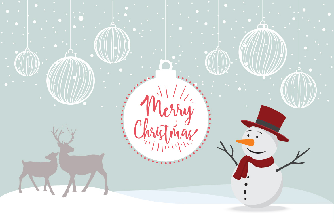 Merry Christmas elements snowman poster example image 1