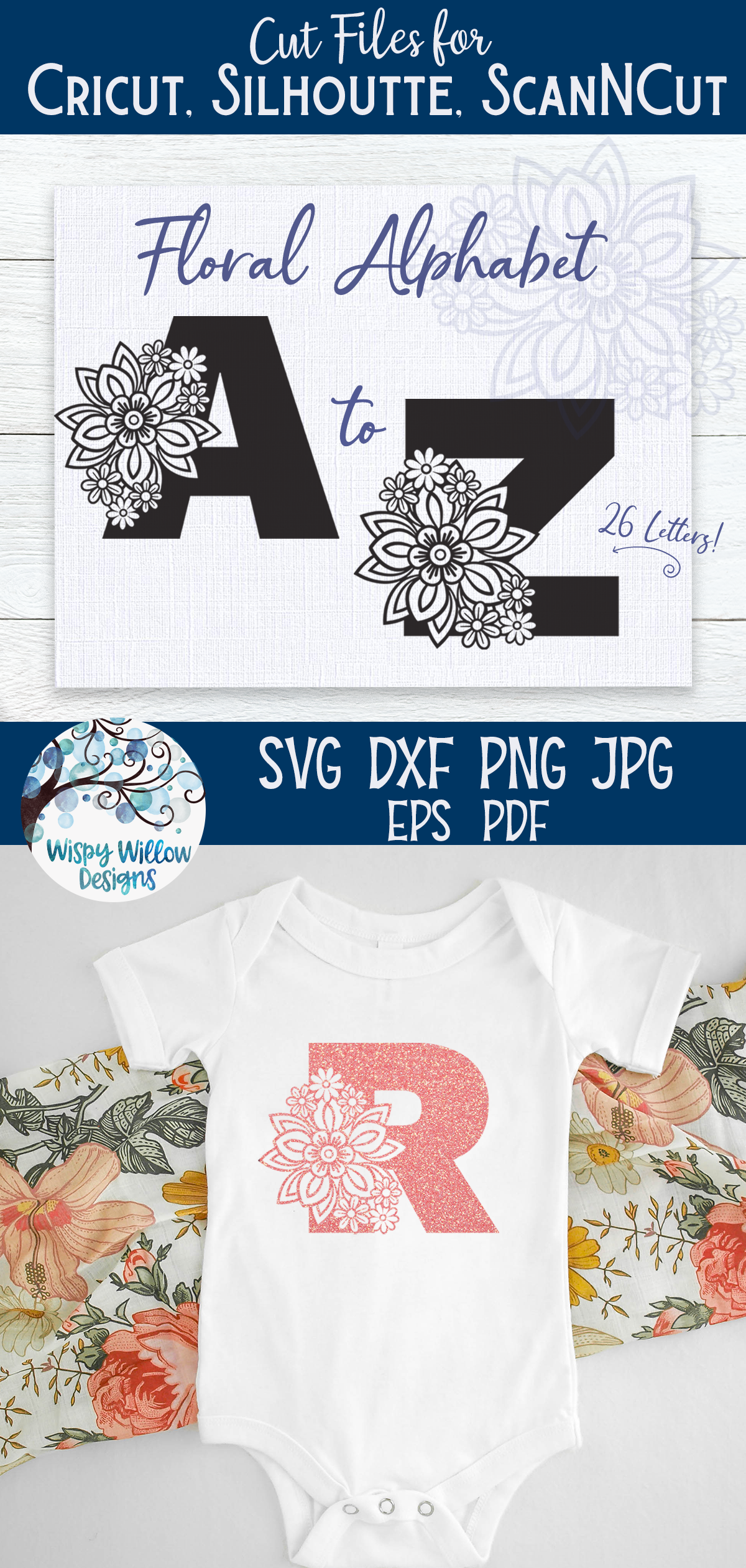 Floral Alphabet SVG Bundle | A to Z Floral Letters SVG example image 7