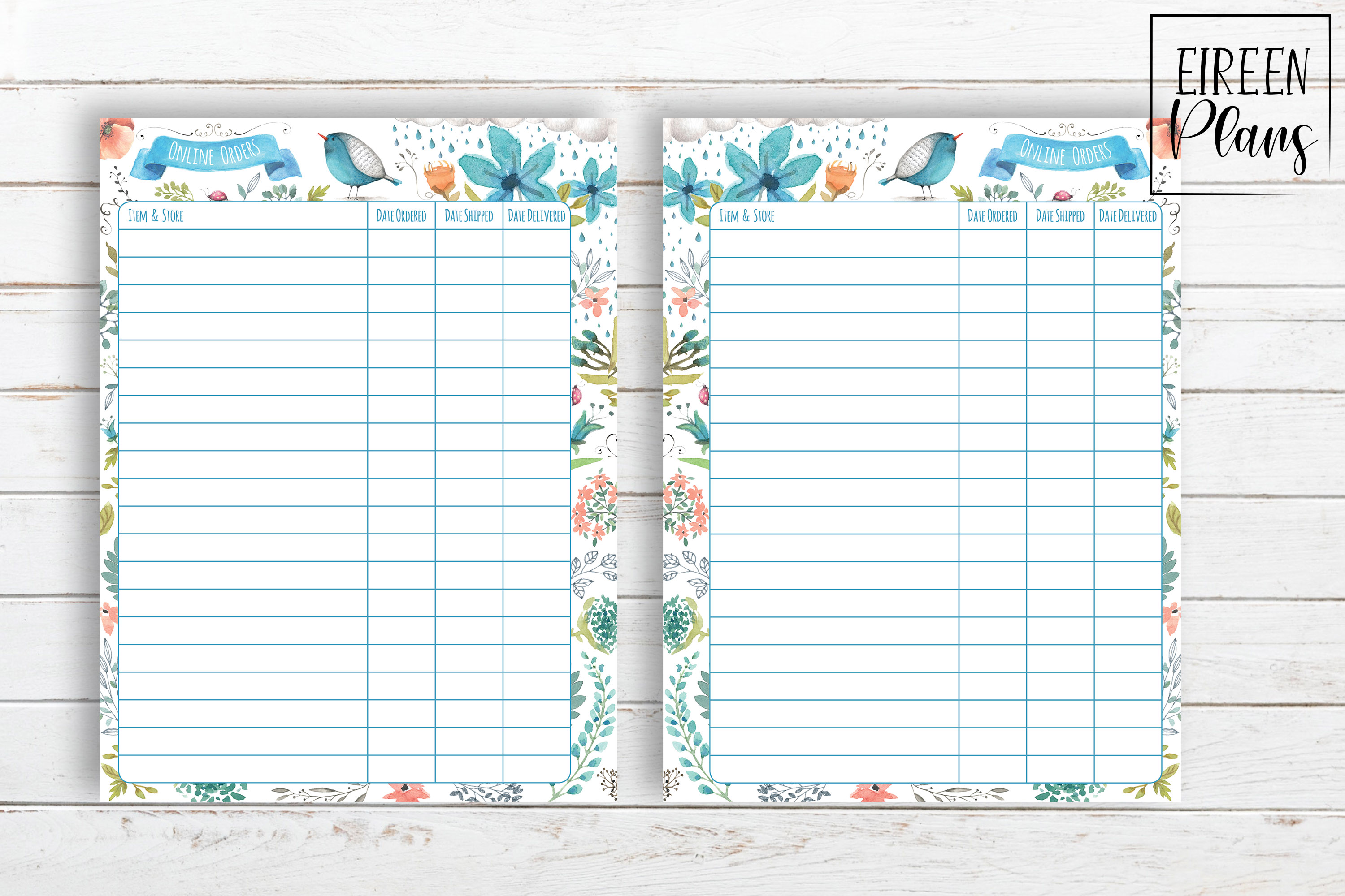 Online Orders Tracker Printable for Classic Happy Planner example image 2