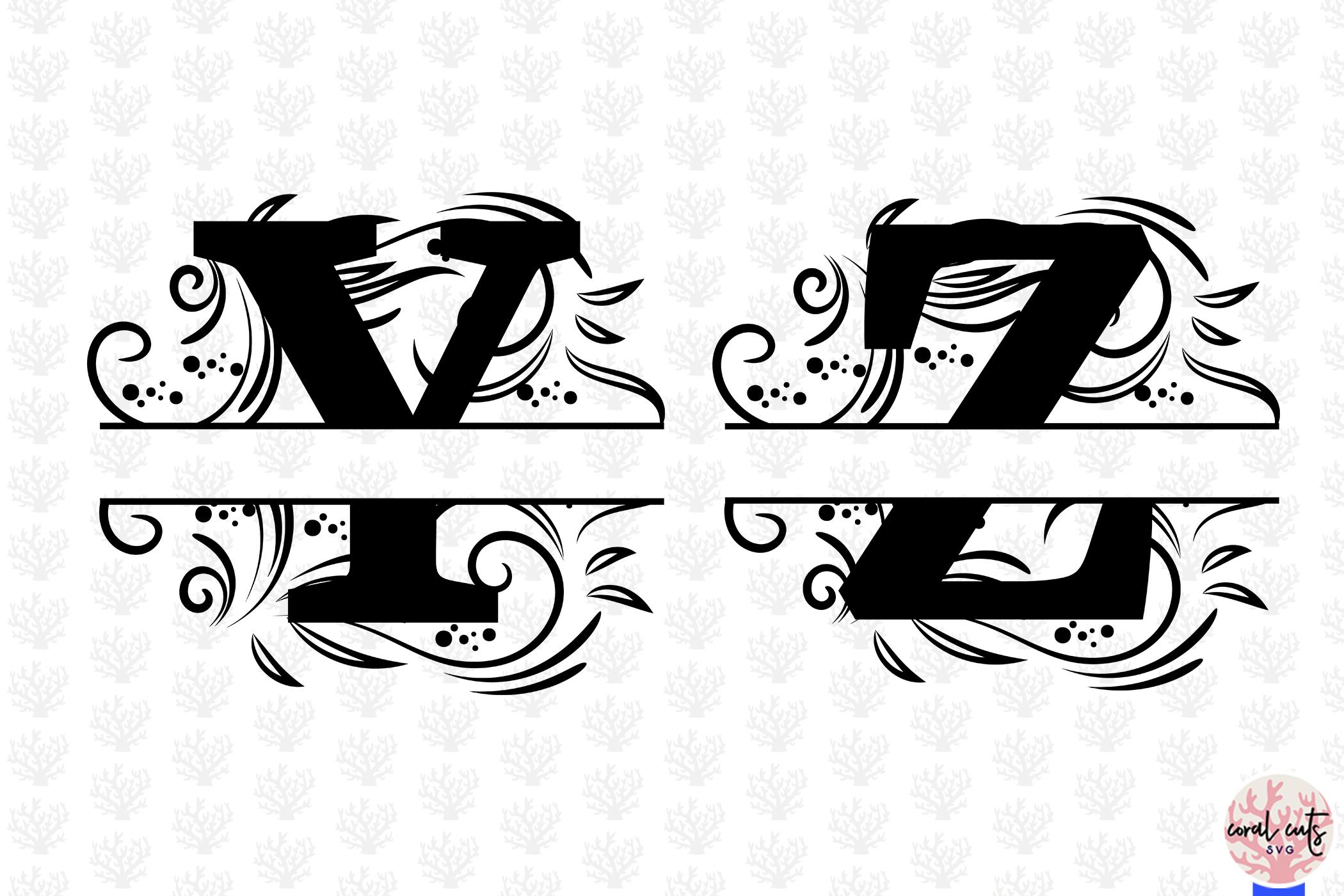 Floral Split Alphabet Monogram - Svg EPS DXF PNG File example image 6