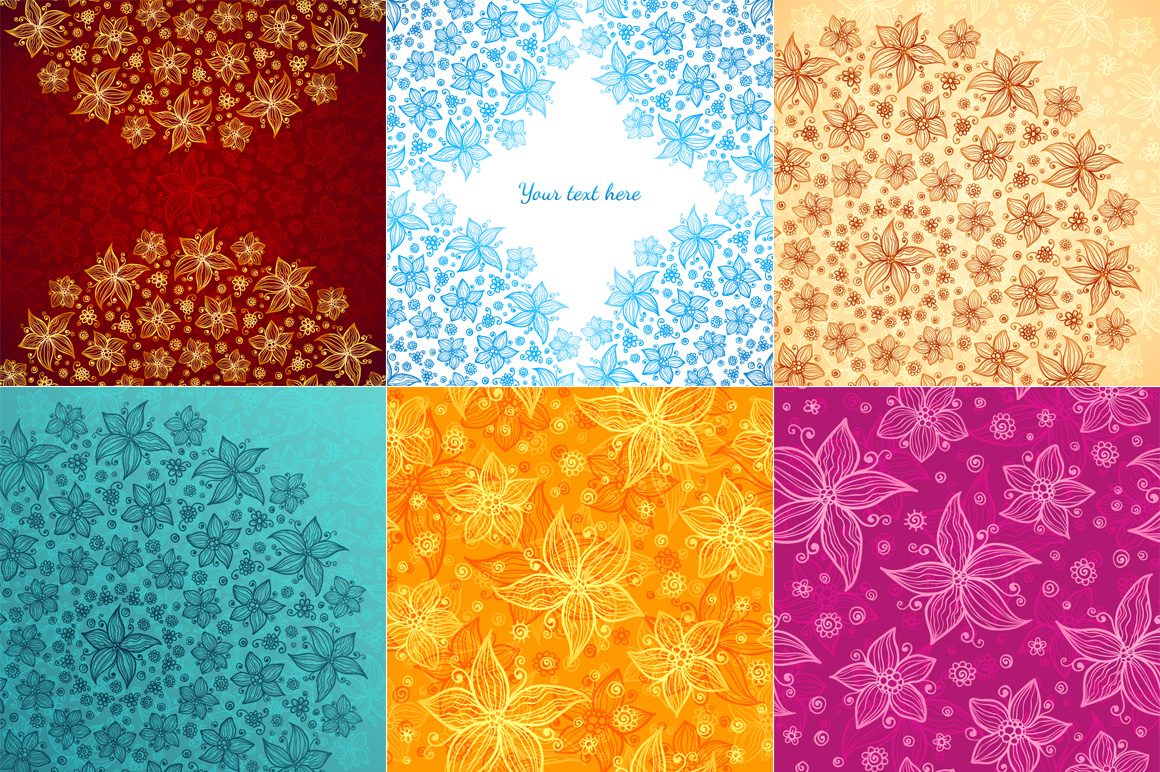 12 vector flowers seamless patterns example image 5