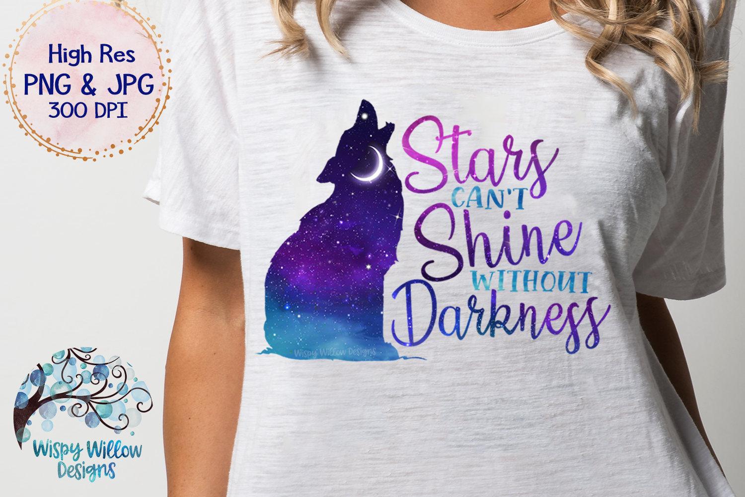 Stars Can't Shine Without Darkness PNG   Galaxy Sky Wolf PNG example image 2