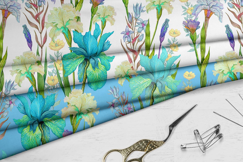 Iris digital paper. seamless pattern.Floral digital paper. example image 8