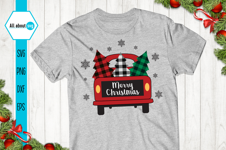 Merry Christmas Truck Buffalo Plaid Svg example image 2