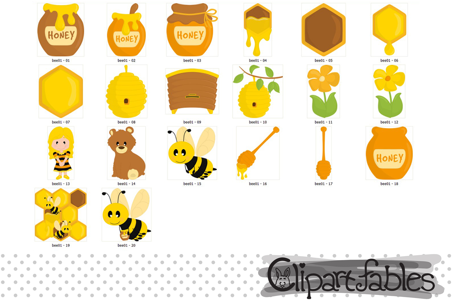 Bee Clipart Set, Honey art, Bumble Bee and DIGITAL papers example image 3