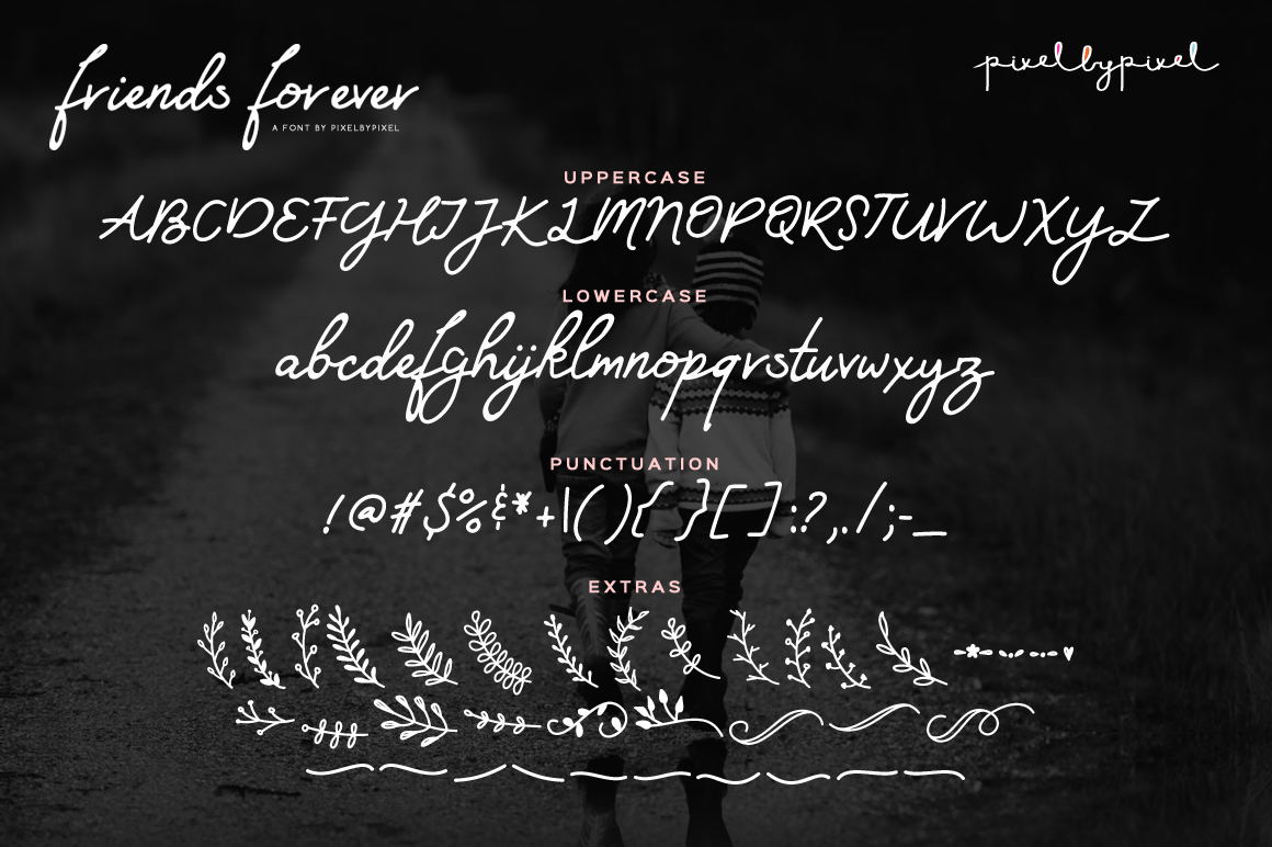 Friends Forever Font & Floral Extras example image 5