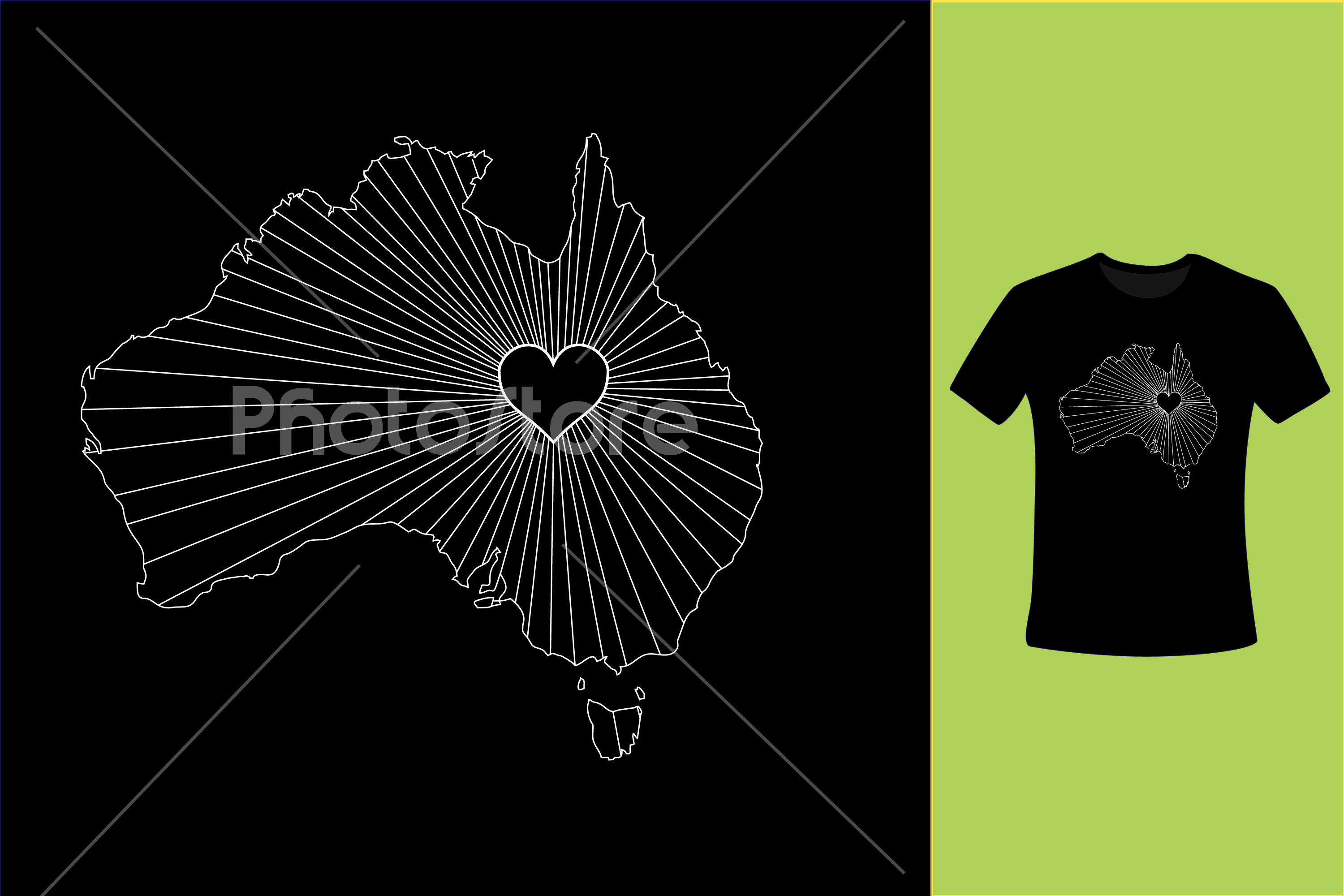 I Love Australia, Country Map Silhouette example image 8