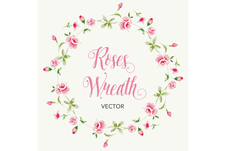 Vector watercolor rose wreath example image 1