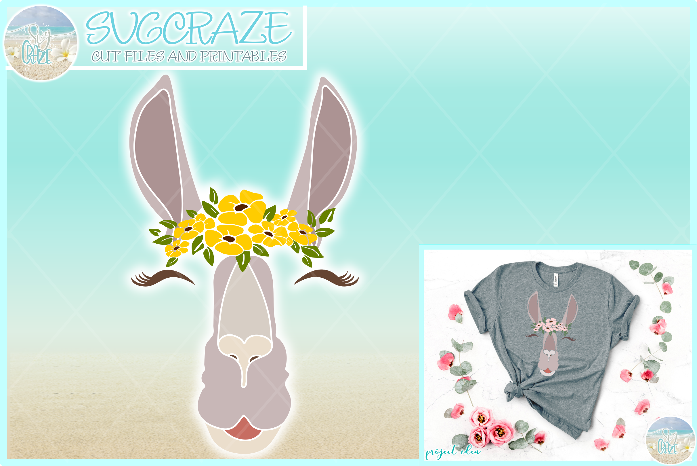 Llama Face With Flowers Svg Dxf Eps Png Pdf Files For Cricut example image 1