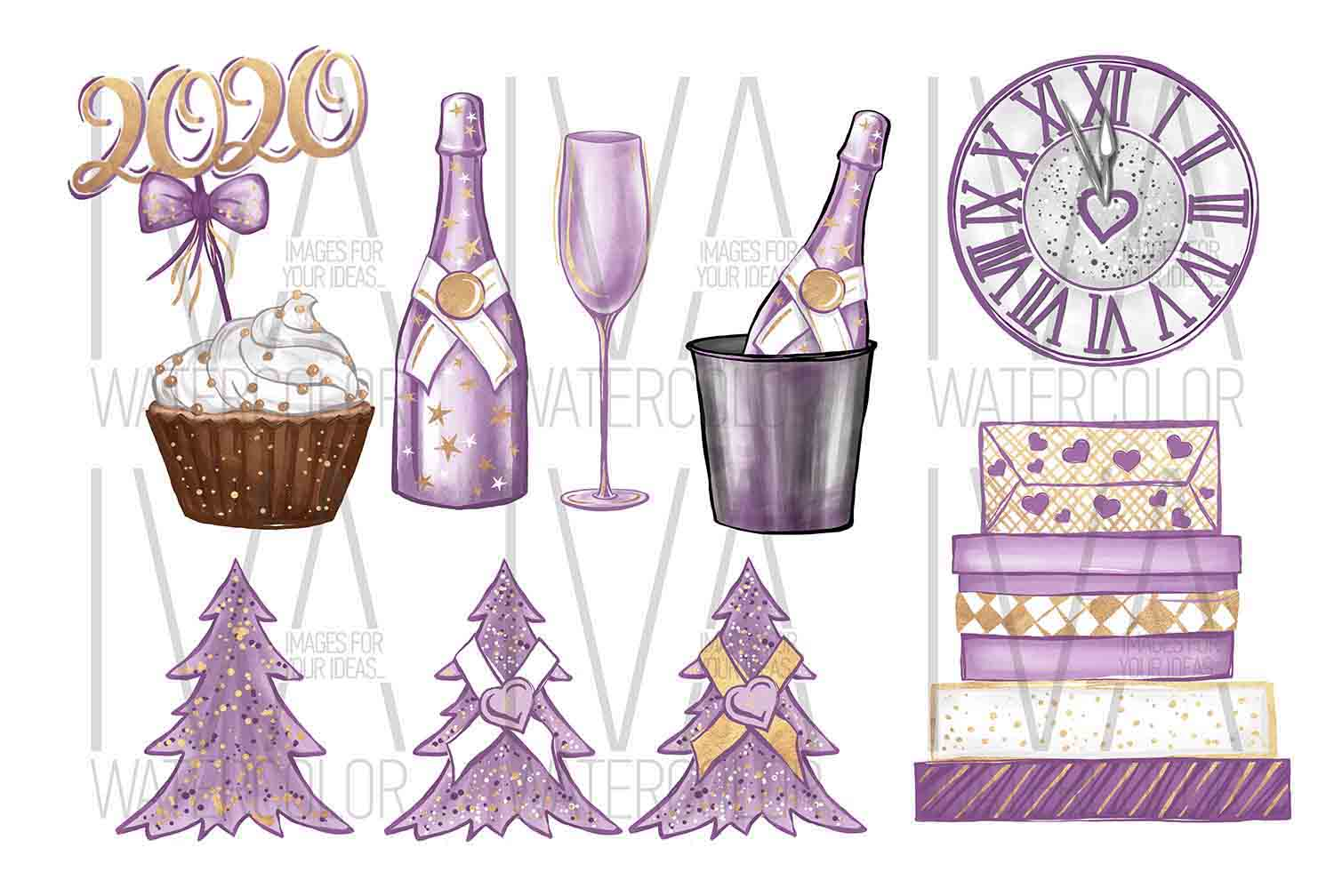New Year's Eve Clipart, Fashion Illustration example image 2