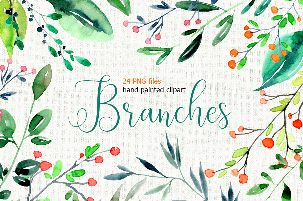 Watercolor branches, leaves 24 PNG files set example image 1