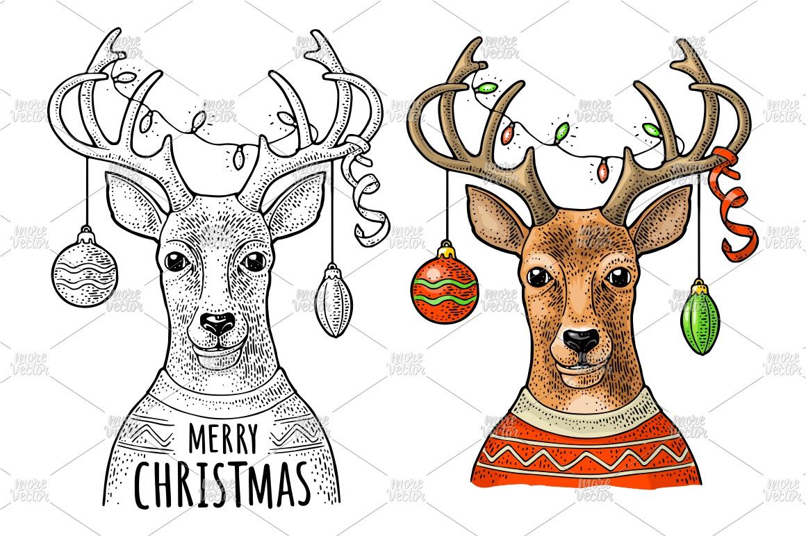 Deer christmas garland dressed sweater. Vintage engraving example image 1