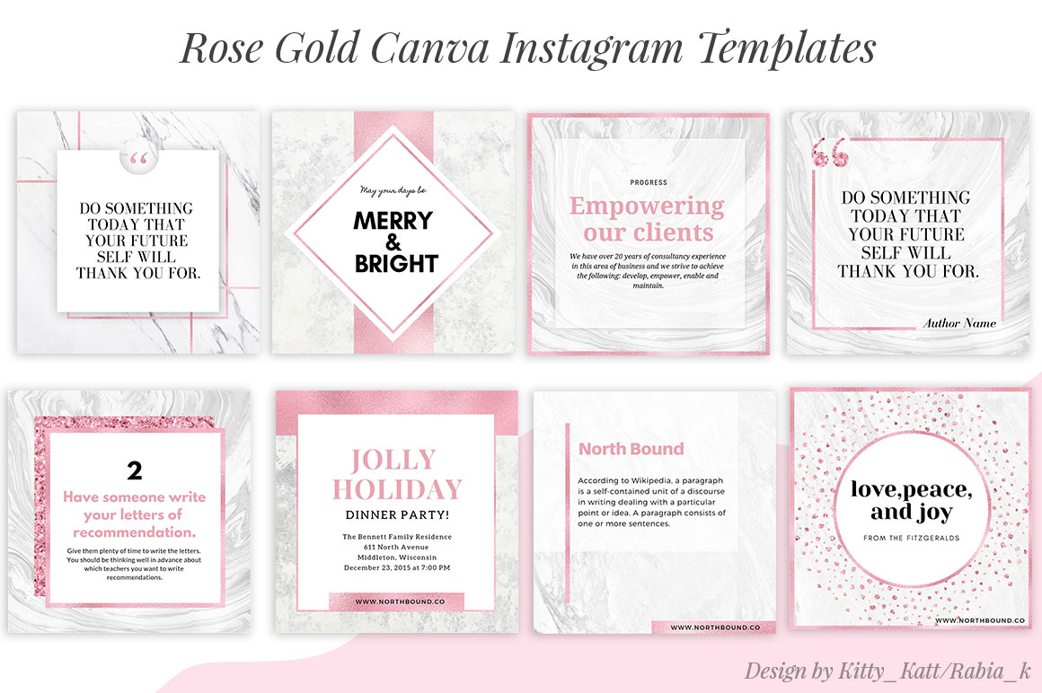 Rose Gold Canva Instagram Templates example image 2