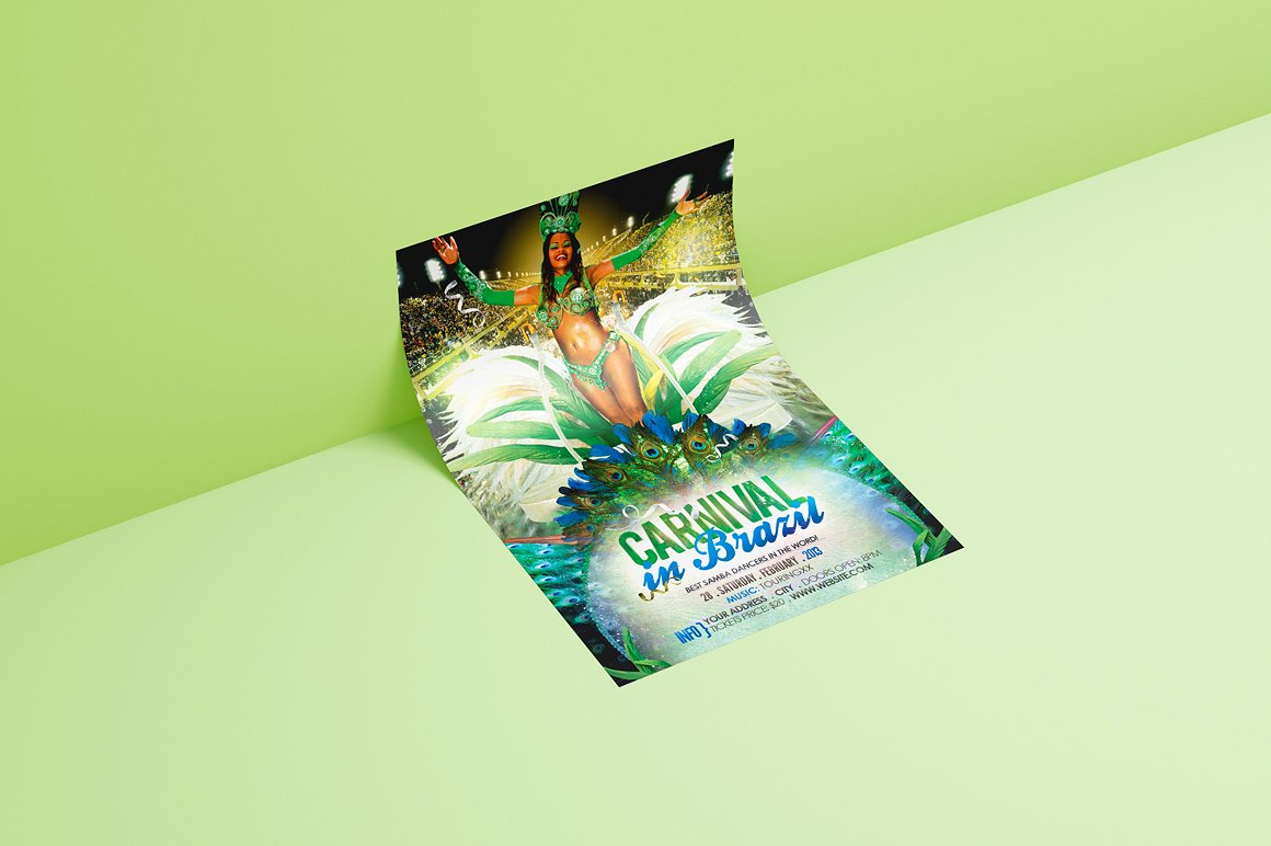 Carnival In Brazil Flyer Template example image 2