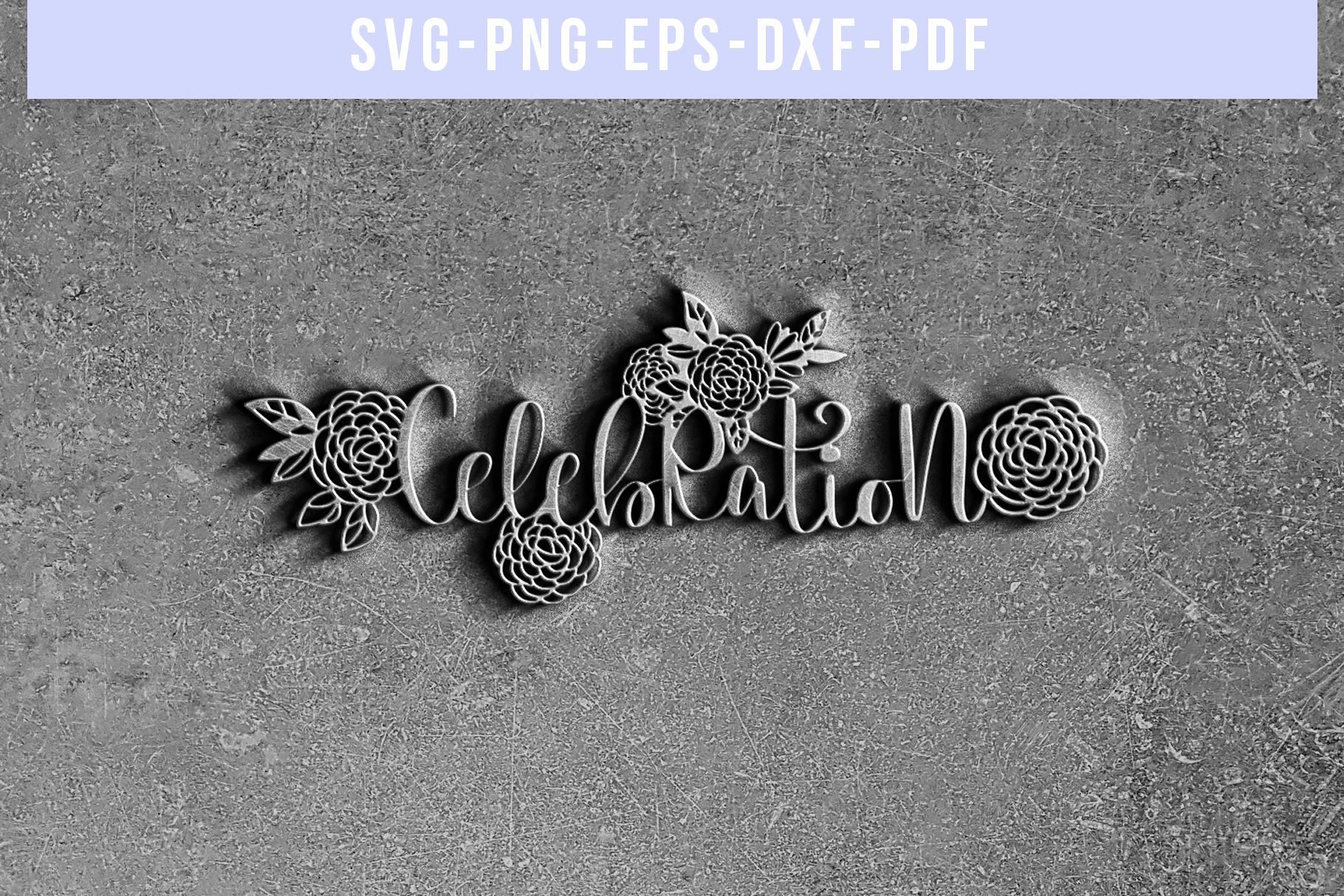 Celebration Papercut Template, Wedding Invitation SVG, PDF example image 5