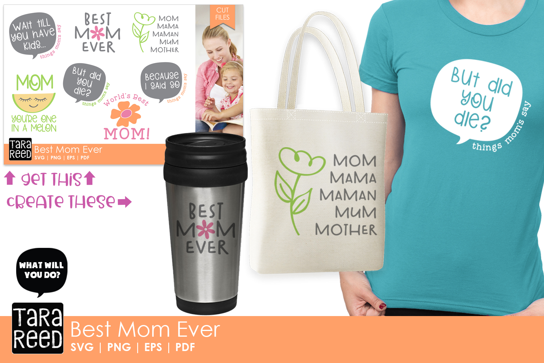 Best Mom Ever - Family SVG and Cut Files for Crafters example image 2