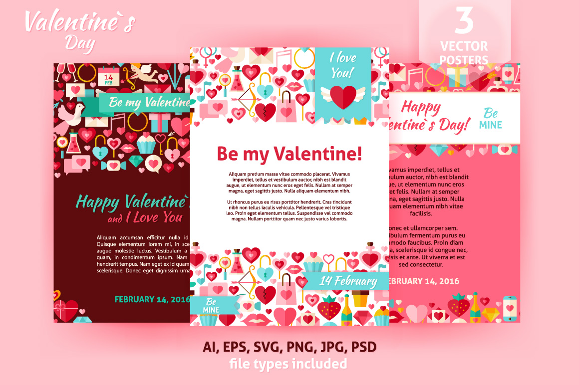 Valentine Day Vector Flat Posters example image 1