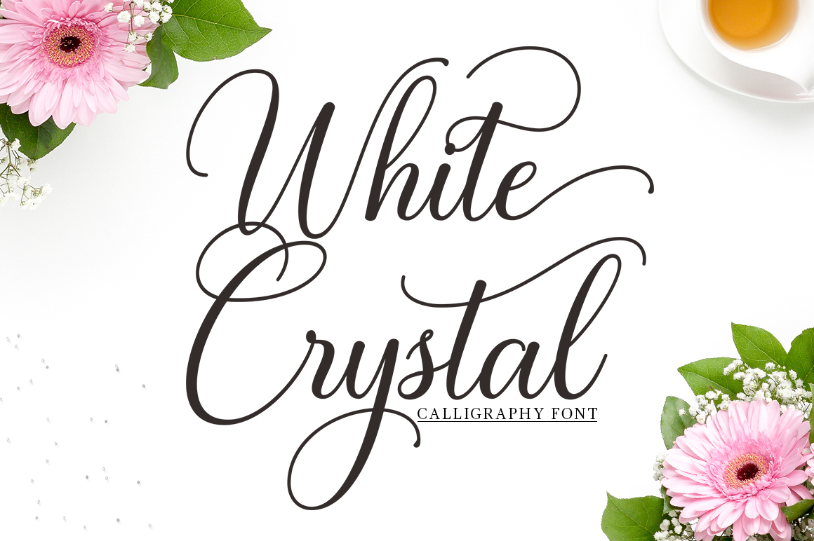 White Crystal Script example image 1