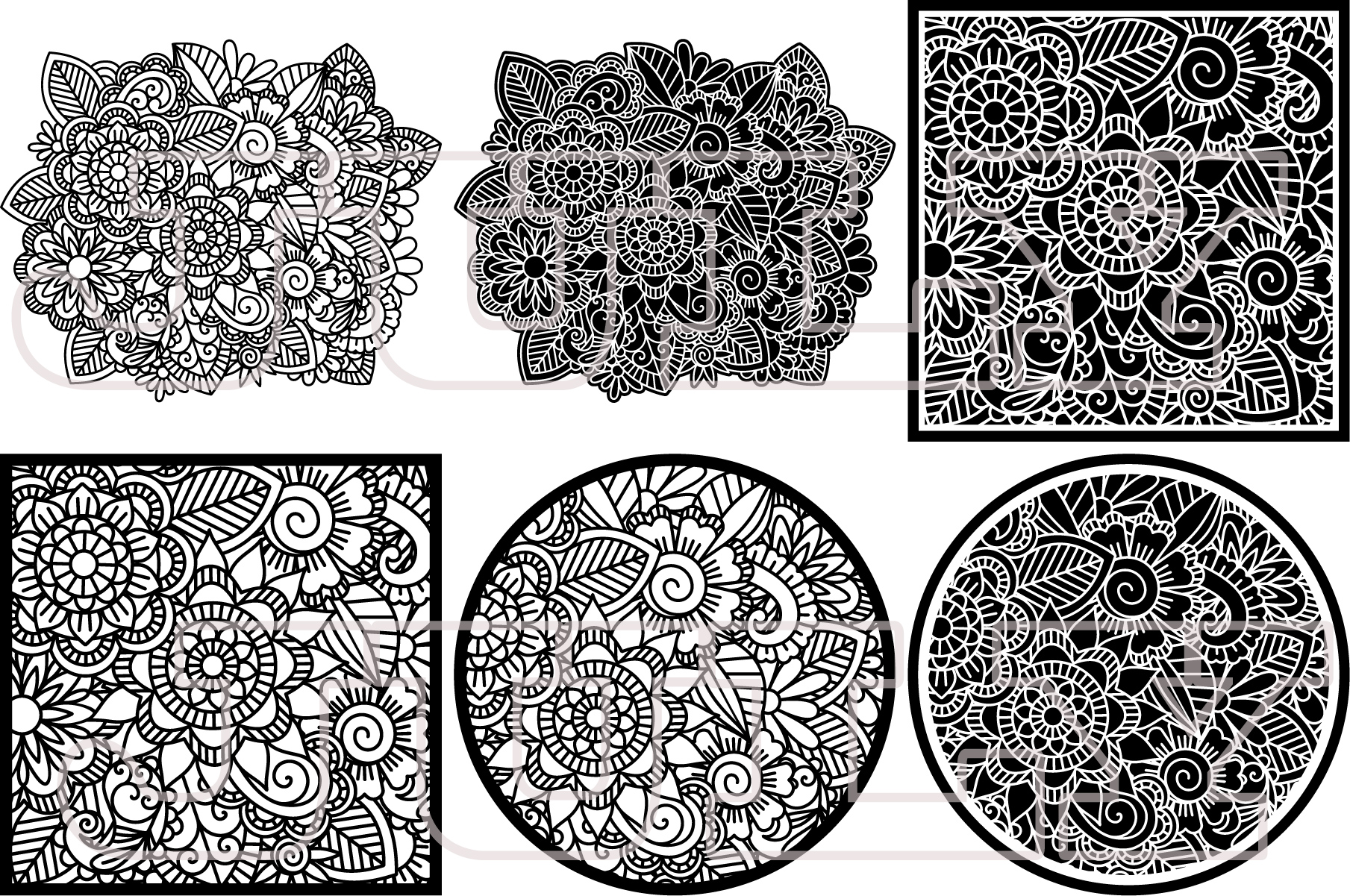Floral Pattern, SVG, Flower Background, Zentangle, Template example image 2