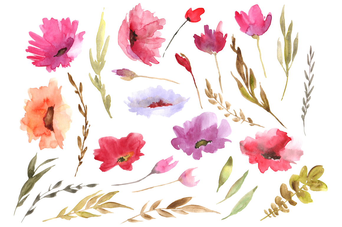 Rustic watercolor flowers set example image 2