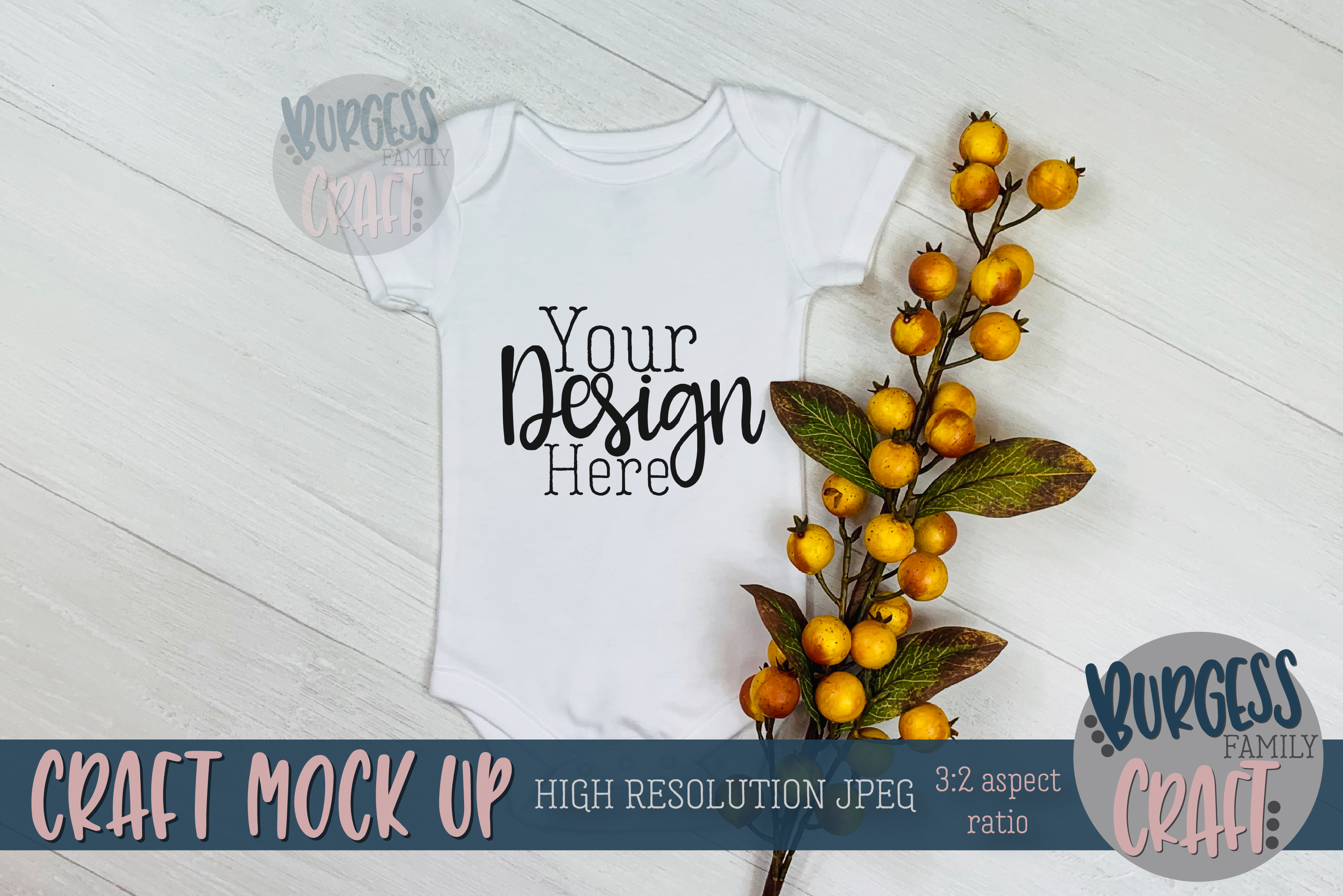 Fall baby bodysuit Craft mock up   High Res JPG example image 1