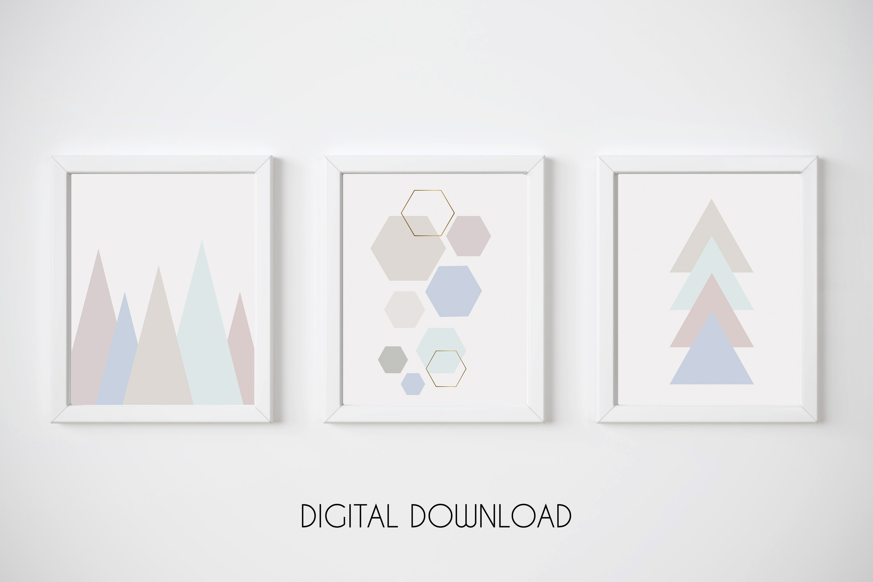 Geometric Print Set of 3, Blue and Pink Wall Art, Pastel Art example image 1