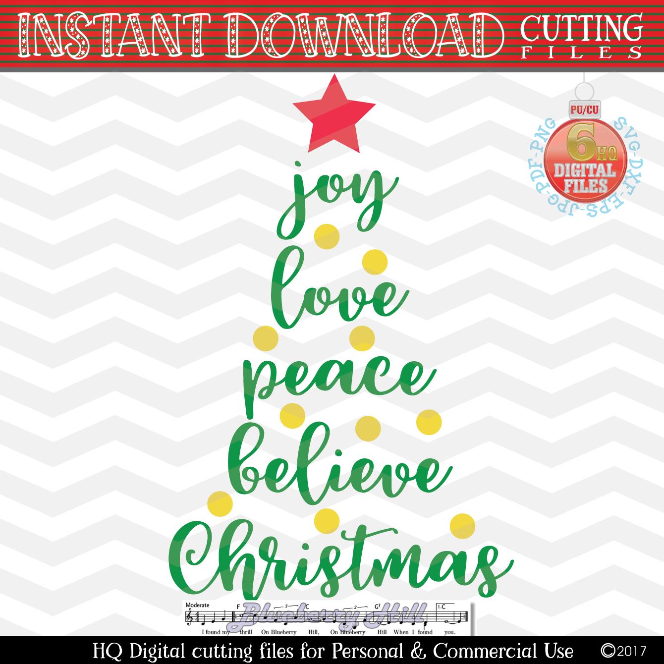 Joy Love Peace Believe Christmas SVG - Xmas tree Svg example image 2