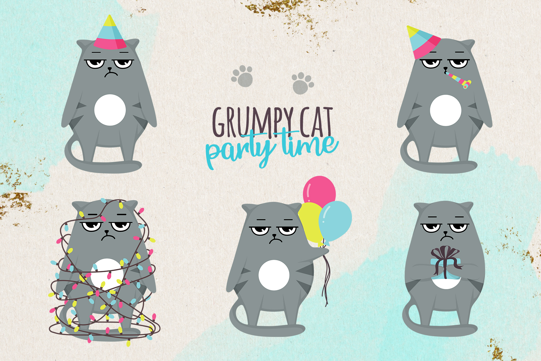 Grumpy cats vector collection example image 4