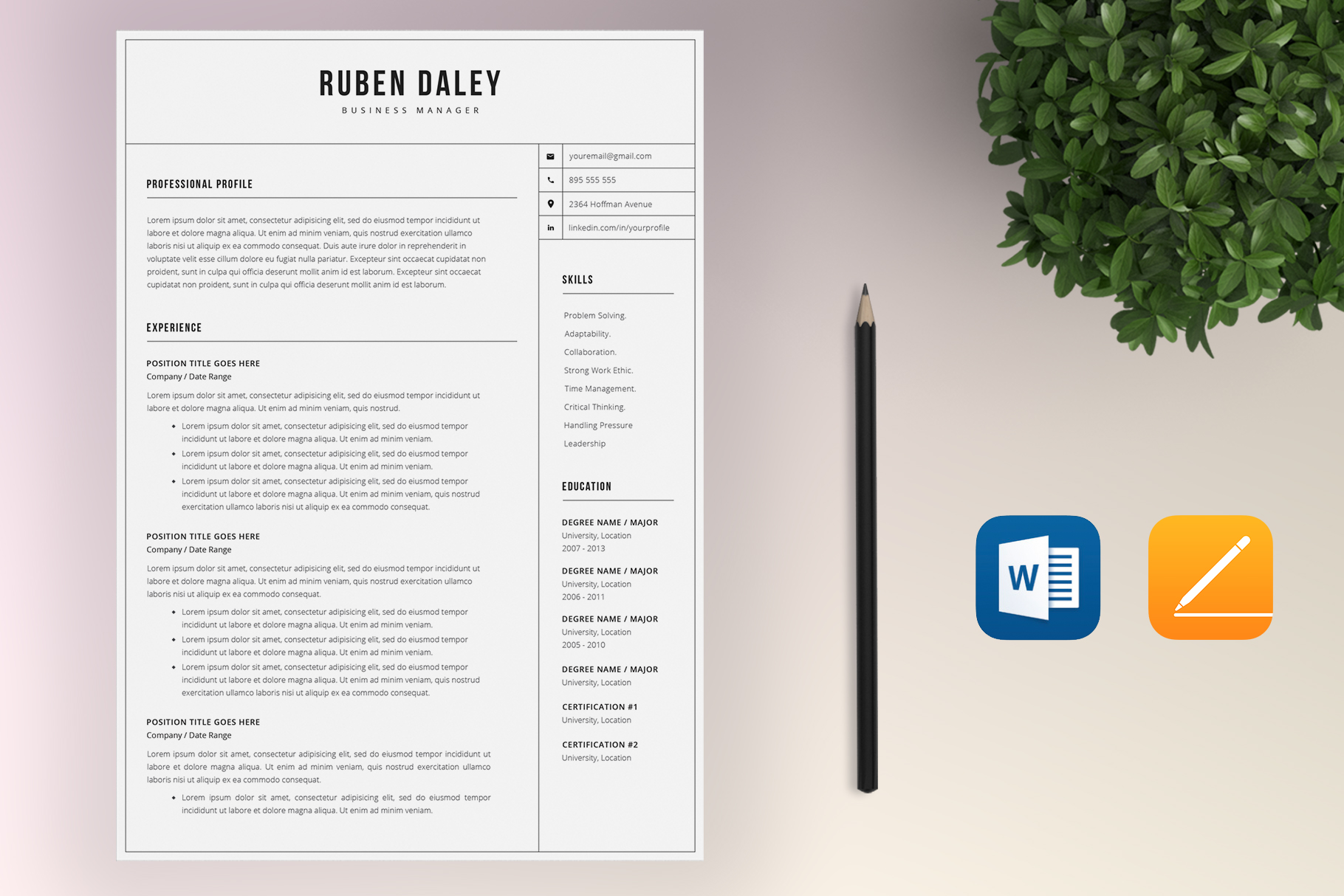 Resume Template Bundle | 4 Pages and Cover Letter example image 8